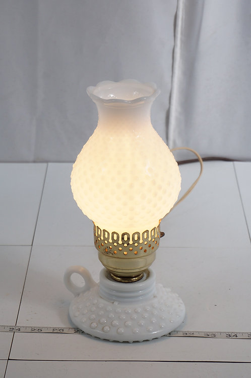 1950s Electric Table Lamp With Hobnail Chimney Shade