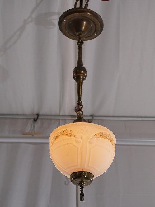 Brass Light Fixture with Milk Glass Shade