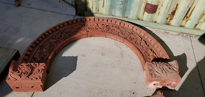 Architectural Red Terracotta Façade - Ornamental Entry Door Arch With Dragons
