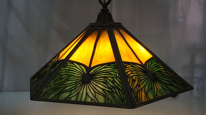 1910s Arts and Crafts Pendant Light Fixture with Slag Glass Panels