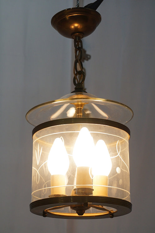 1940s Pendant Light Fixture With Etched Glass Cylinder Shade