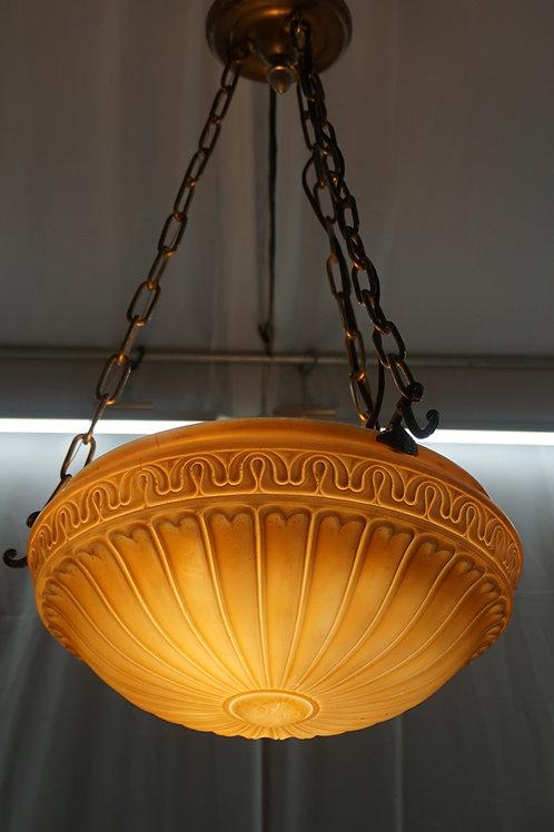 1910s Neoclassical Milk Glass Bowl Chandelier