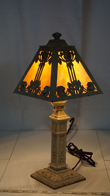 1920s Table Lamp With 4 Panel Slag Glass Shade