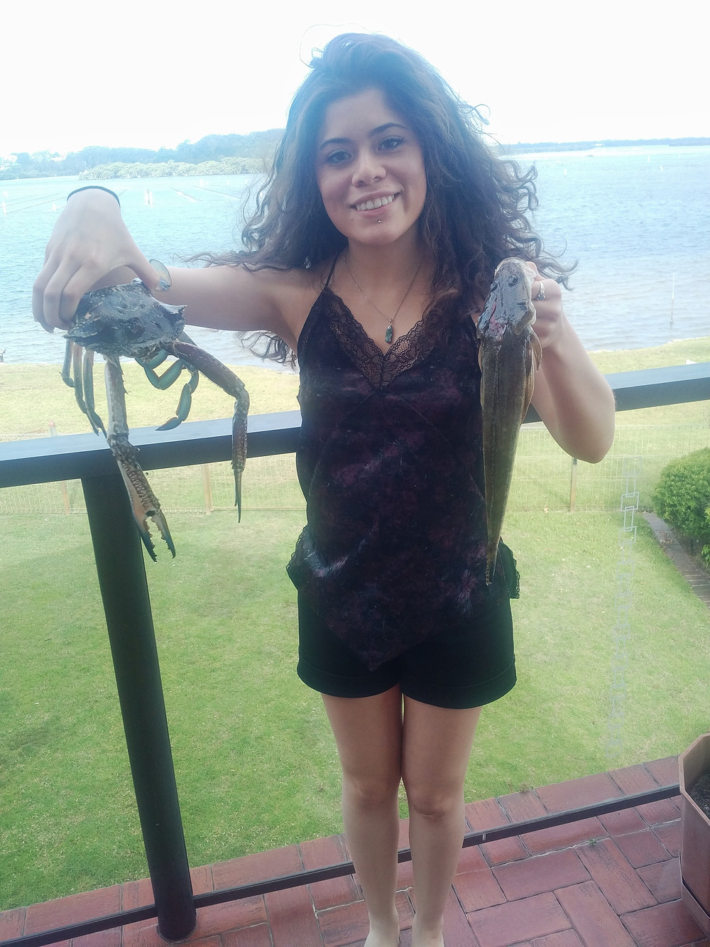 Catching crab and a flathead