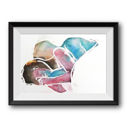Cuddles (original) -Framed