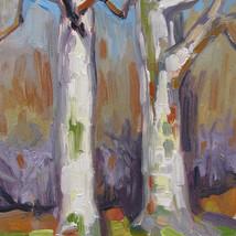 """Spring Birch Trees"" oil on board"