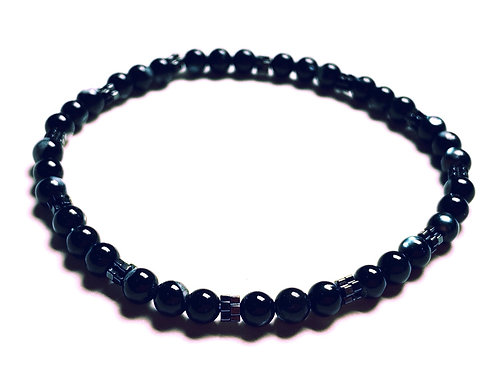 Hematite and Black Mother of Pearl Bracelet