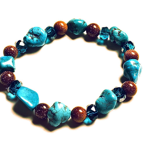 Turquoise, Howlite, and Goldstone Bracelet