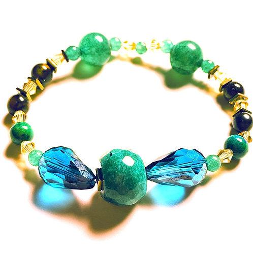 Jade, Aventurine, Tiger's Eye, & Hematite Bracelet