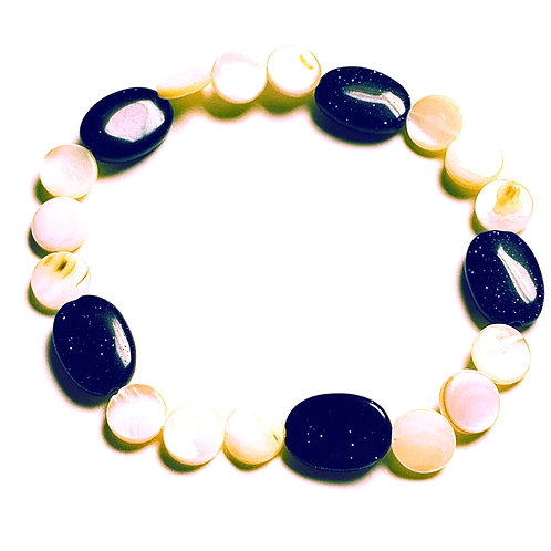 Natural Shell and Blue Goldstone Bracelet