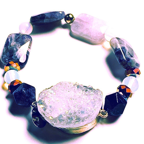 Druzy Center Stone with Opal and Amethyest Bracelet