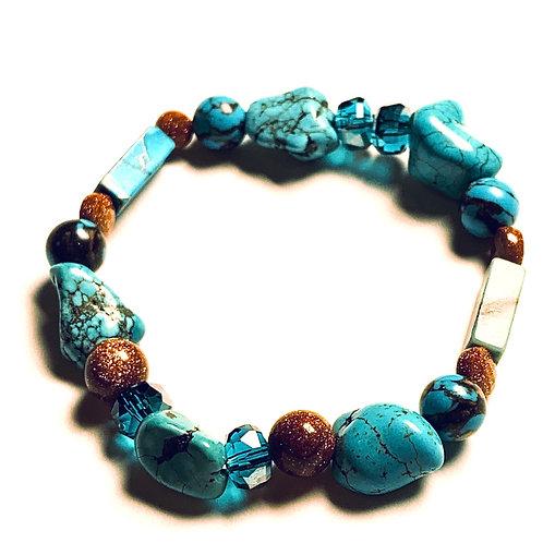 Turquoise, Howlite, Jasper, and Goldstone Bracelet