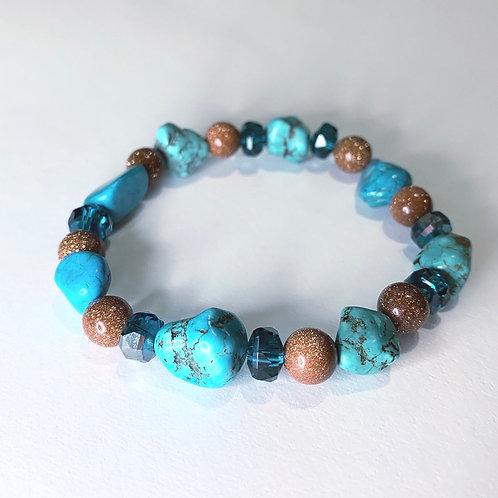 Turquoise Collection: Gold Sandstone & Howlite bracelet