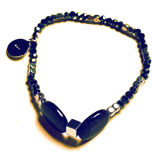 Hematite and Blue Goldstone Bracelet