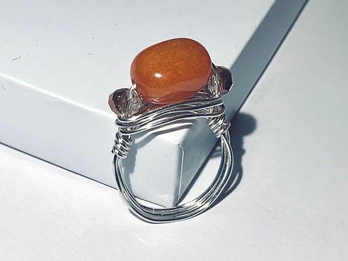 Orange Agate with Swarovski Crystal Accents Ring