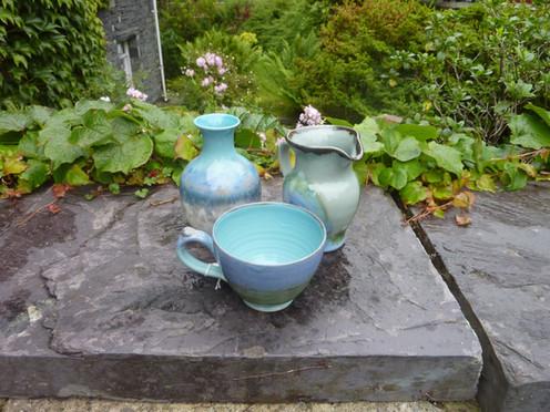 Josh Johnson jug, vase and cup.