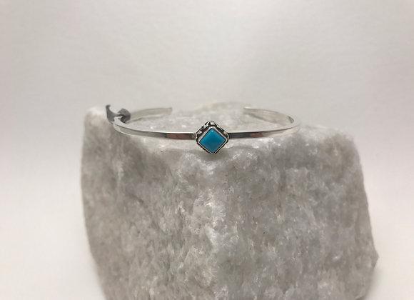 Sleeping Beauty Turquoise set in Sterling Silver Cuff Bracelet
