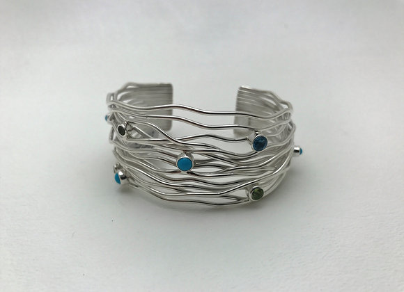 Rainwater Cuff Bracelet with Sleeping Beauty and Topaz