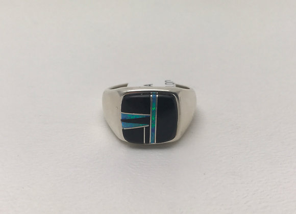 Navajo Onyx and Opal Inlay Ring