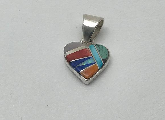 Multi-Stone Heart Reversible Pendant