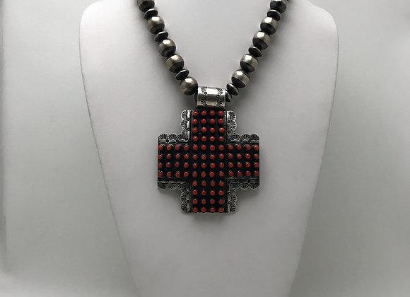 Cross Pendant with Navajo Pearl