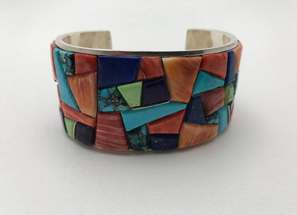 Multi Stone Corn Row Cuff Bracelet