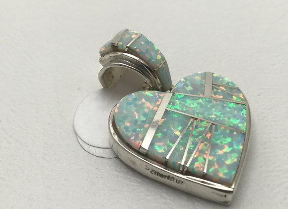 Opal set in Sterling Silver Heart Reversible Pendant