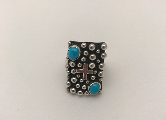 Navajo Cross and Silver Beads Ring with Sleeping Beauty