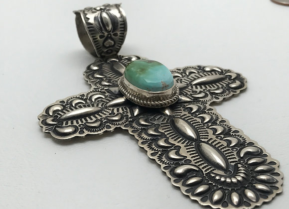 Cross with Royston Turquoise set in Sterling Silver Pendant