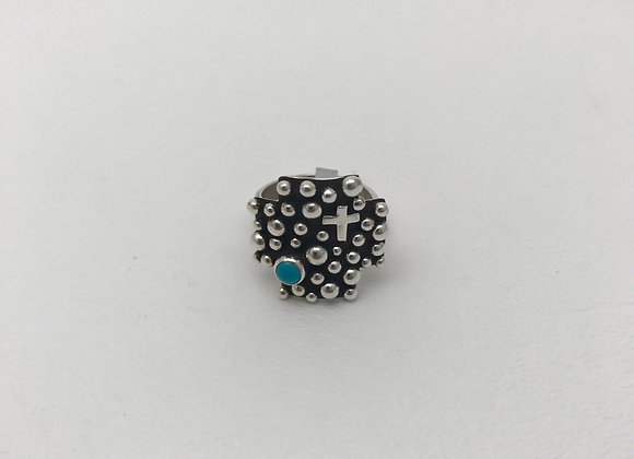 Navajo Cross and Silver Beads Ring with Coral
