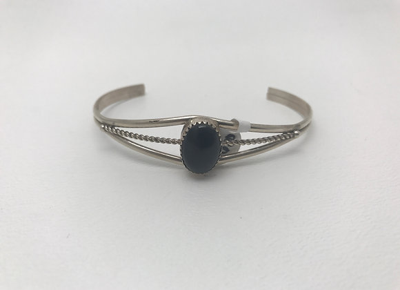 Onyx set in Sterling Silver Cuff Bracelet