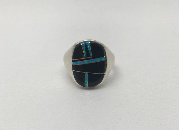 Navajo Inlay Ring with Onyx and Opal