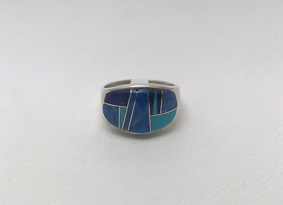 Navajo Lapis and Turquoise Inlay Ring