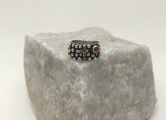 Navajo Cross and Beads Ring with Coral