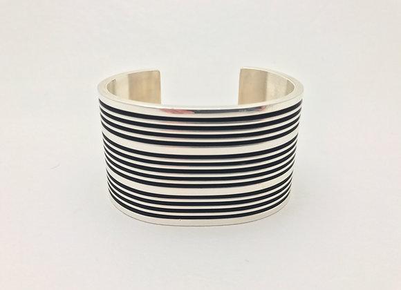 Sterling Silver Track Design Cuff Bracelet