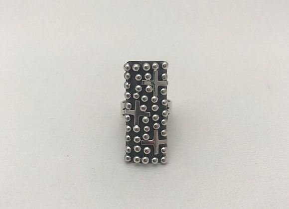 Navajo Cross with Silver Beads Ring