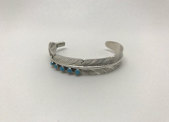 Sleeping Beauty set in Sterling Silver Feather Design Cuff Bracelet