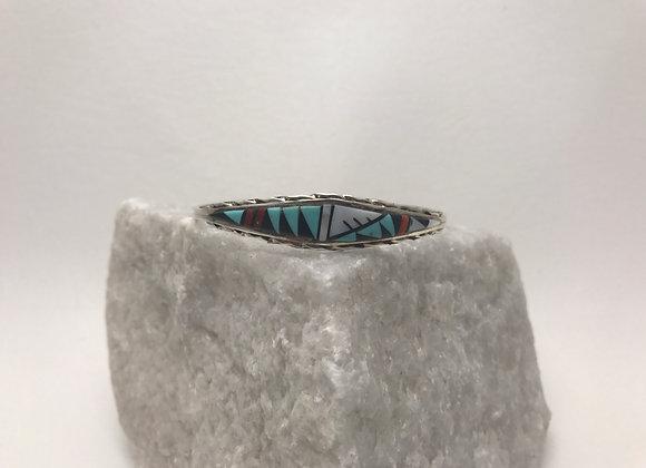 Multi-Stone set in Sterling Silver Cuff Bracelet