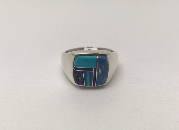 Navajo Turquoise and Lapis Inlay Ring