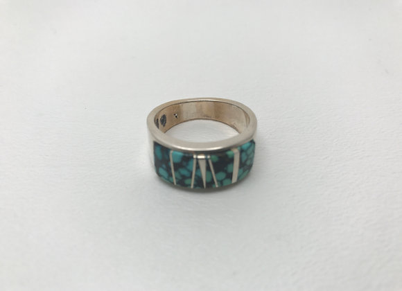 Navajo Spider Web Turquoise Inlay Ring