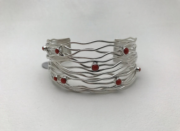 Rainwater Cuff Bracelet with Coral