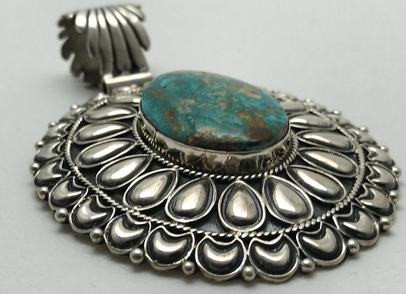 Kingman Turquoise set in Sterling Silver Pendant