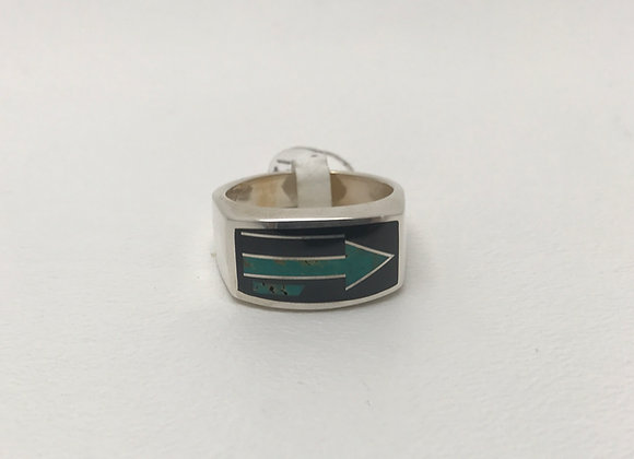 Turquoise and Onyx Arrow Design Inlay Ring