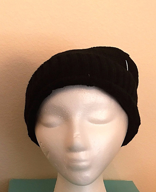 This fun knit hat can be for ladies or for guys! The hat is black knit in a  slouchy theme to keep your head warm for those cool morning walks or the ... f827f58f7d4