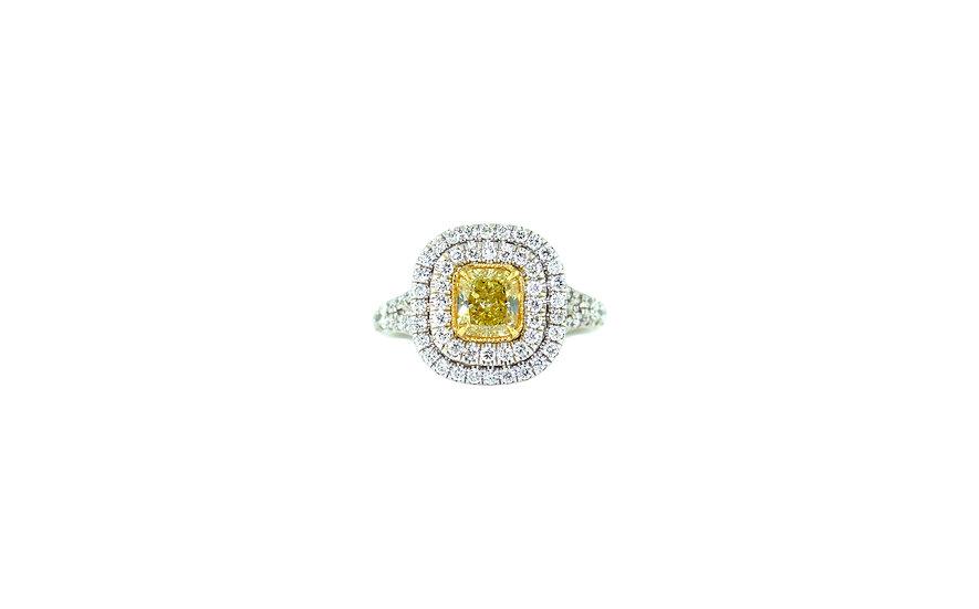 Yellow Diamond Cushion Ring