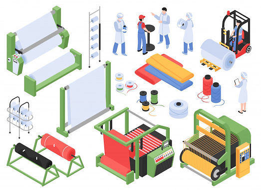 set-isometric-textile-factory-production-isolated-s-with-industrial-machinery-storage-faci