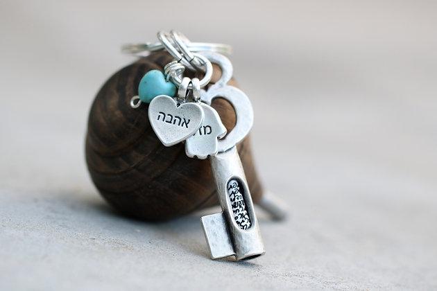 מפתח עם הקדשה אישית, אהבה ומזל