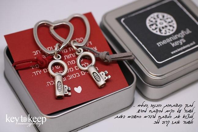 מתנה לחתונה - צמד מפתחות עם ברכה