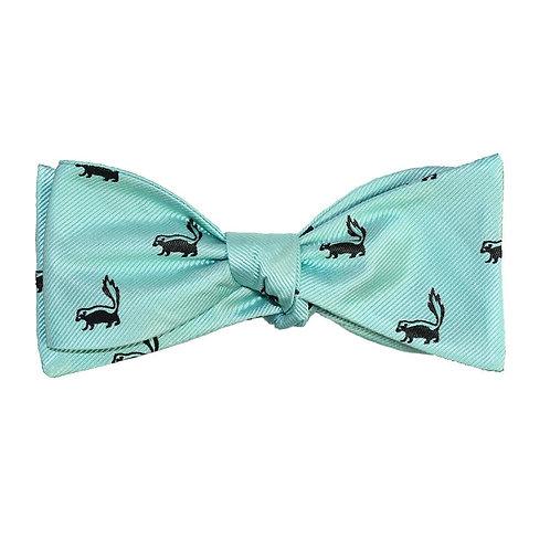 Skunk Bow Tie - Sea Green, Woven Silk