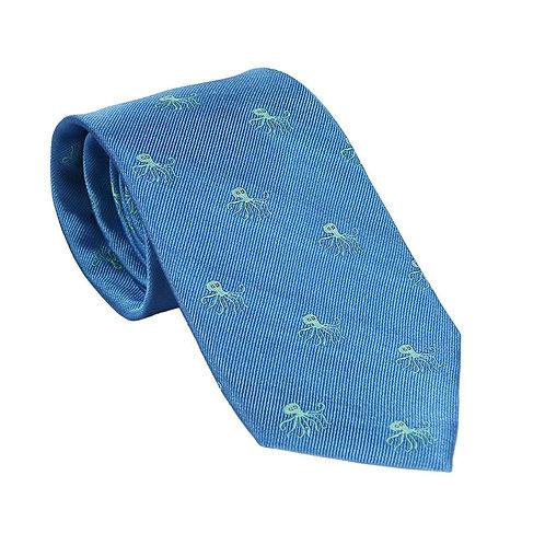 Octopus Necktie - Blue, Woven Silk